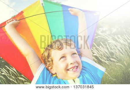 Children Boy Playing Kite Enjoyment Concept