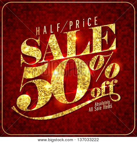 Golden and deep red advertising sale design 50 percents off, vector illustration