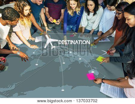 Flight Ticket Booking Destination Journey Concept