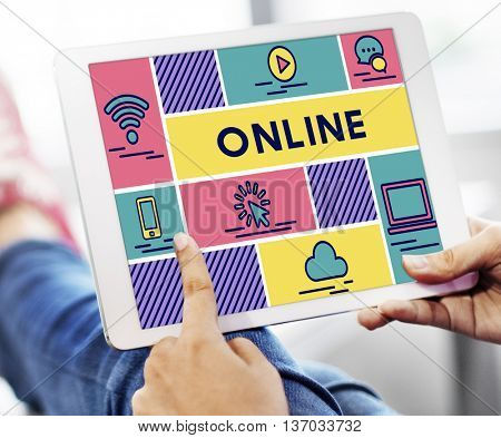 Online Networking Internet Computer Sharing Concept