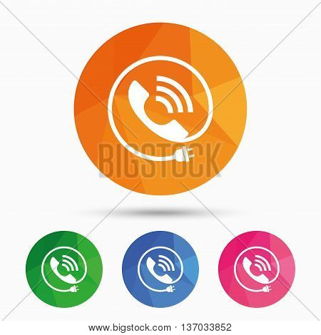 Phone sign icon. Call support center symbol. Communication technology with electric plug. Triangular low poly button with flat icon. Vector