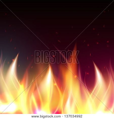 Realistic fire flames special effect vector illustration. Fire flames effect. Spurts of flame. Bonfires. Fire from the lighter. Types of fire flame. Fire elements.