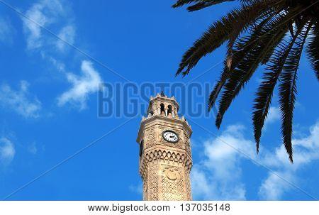 close up shot of clock tower in izmir