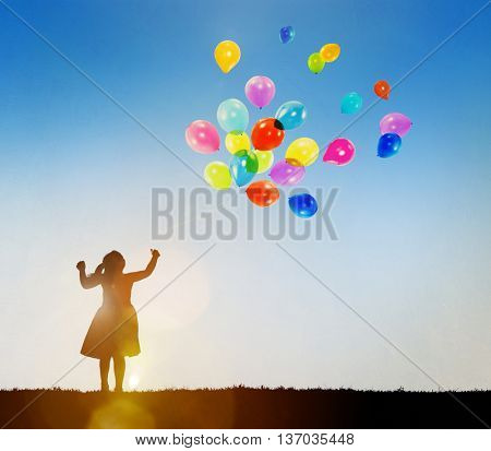 Child Playing Balloons Fun Enjoyment Concept