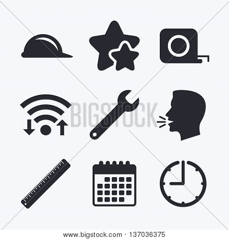 Construction helmet and wrench key tool icons. Ruler and tape measure roulette sign symbols. Wifi internet, favorite stars, calendar and clock. Talking head. Vector
