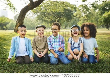 Children Friendship Togetherness Playful Happiness Concept