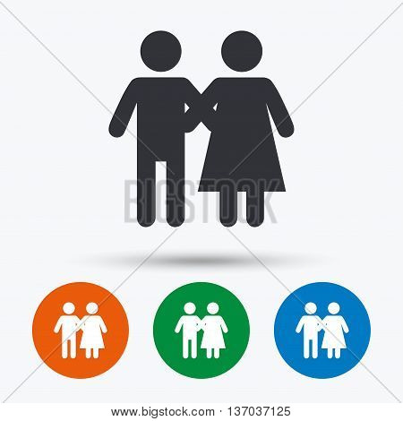 Couple icon. Young family symbol. Family insurance. Round circle buttons with icon. Vector