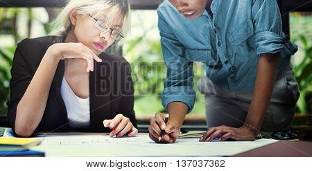 Businesswomen Thinking Planning Strategy Working Plan Concept