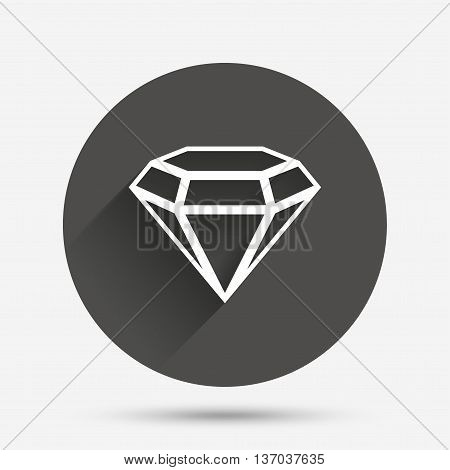 Diamond sign icon. Jewelry symbol. Gem stone. Circle flat button with shadow. Vector
