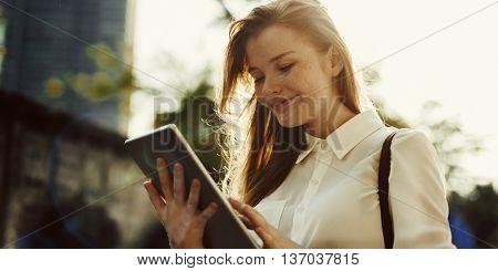 Woman Tablet Connection Smiling Communication Concept
