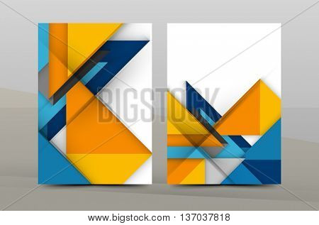 Square and triangle design. Colorful geometric A4 business print template. Brochure or annual report cover, vector business flyer layout, geometric abstract poster, identity illustration