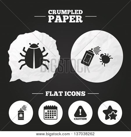 Crumpled paper speech bubble. Bug disinfection icons. Caution attention symbol. Insect fumigation spray sign. Paper button. Vector poster