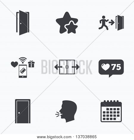 Automatic door icon. Emergency exit with human figure and arrow symbols. Fire exit signs. Flat talking head, calendar icons. Stars, like counter icons. Vector