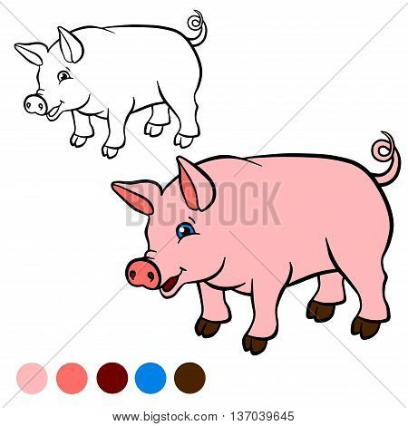 Coloring Page. Color Me: Pig. Little Cute Pig Stands And Smiles.