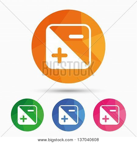 Exposure photo camera sign icon. Quantity of light settings. Triangular low poly button with flat icon. Vector