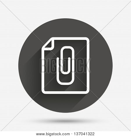 File annex icon. Paper clip symbol. Attach symbol. Circle flat button with shadow. Vector