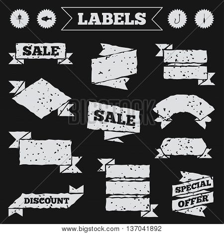 Stickers, tags and banners with grunge. Fishing icons. Fish with fishermen hook sign. Float bobber symbol. Sale or discount labels. Vector