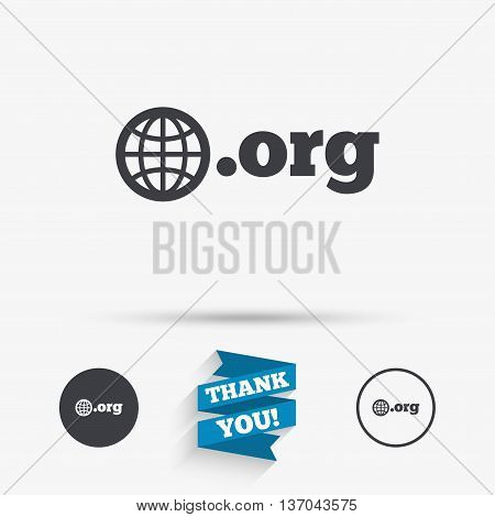 Domain ORG sign icon. Top-level internet domain symbol with globe. Flat icons. Buttons with icons. Thank you ribbon. Vector