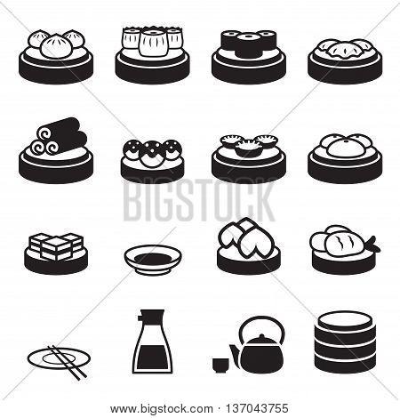 Dim sum & Japanese food icons Vector illustration graphic design