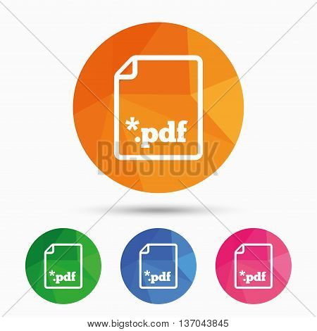 PDF file document icon. Download pdf button. PDF file extension symbol. Triangular low poly button with flat icon. Vector