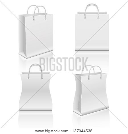 White realistic blank paper shopping bags vector set. Paper bag for shopping, illustration bag for merchandise