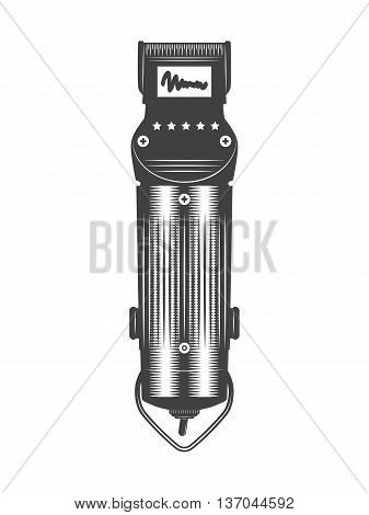 Hair clipper vintage vector isolated on a white background.