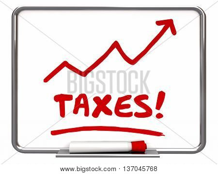 Taxes Rising Arrow Up IRS More Taxation 3d Illustration