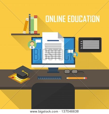 Flat design vector illustration concepts of  online learning, distance education or online training courses. For Web sites and print materials.