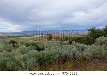Sagebrush hills overlooking the farming valley of Midvale, Idaho.