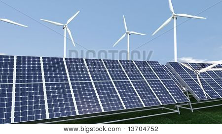 Animation presenting a field of photovoltaic panel in high definition
