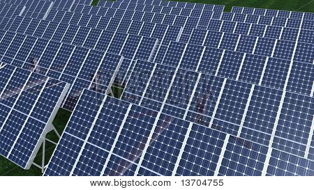 Animation presenting a big field of solar panel in high definition