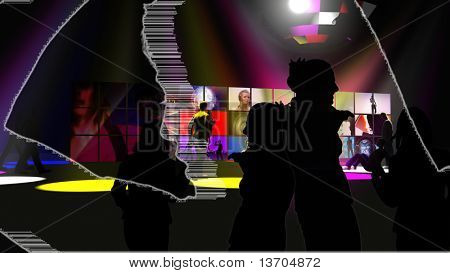 Animation presenting various silhouette talking together in high definition