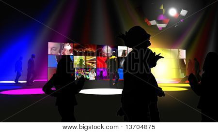 Animation presenting silhouettes dancing on the floor in high definition
