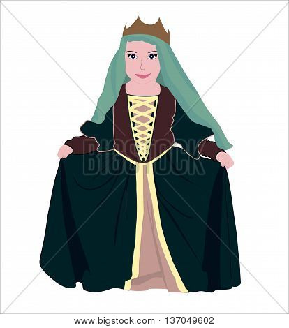 Vector illustration: the Princess in elegant green dress, with a veil and a crown on her head.