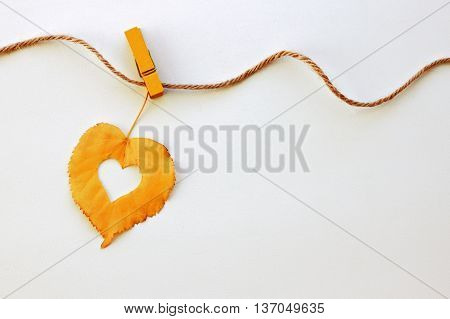 Autumn decoration. Golden single autumn leaf hanging line rope yellow clothes-pin symbol heart, empty background