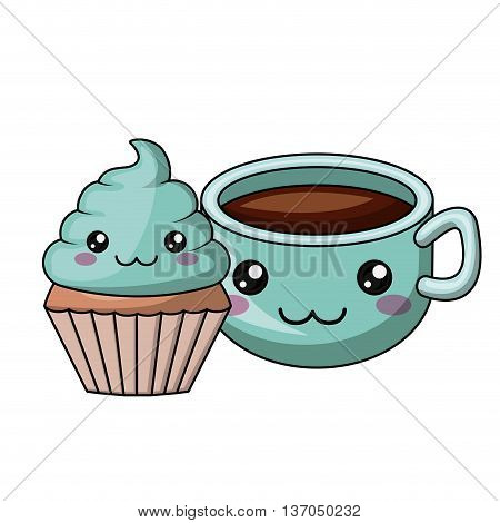 cupcake and coffee character isolated icon design, vector illustration  graphic