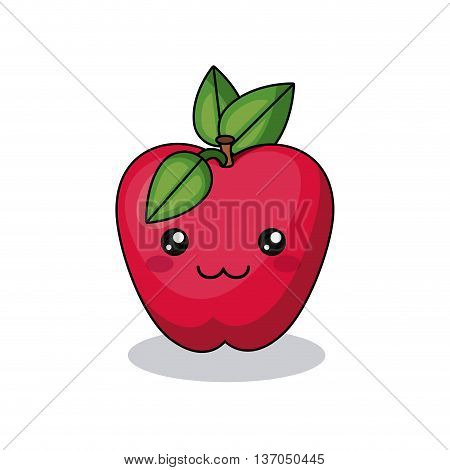 apple fruit character isolated icon design, vector illustration  graphic