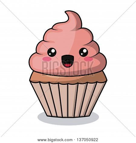 cupcake character isolated icon design, vector illustration  graphic