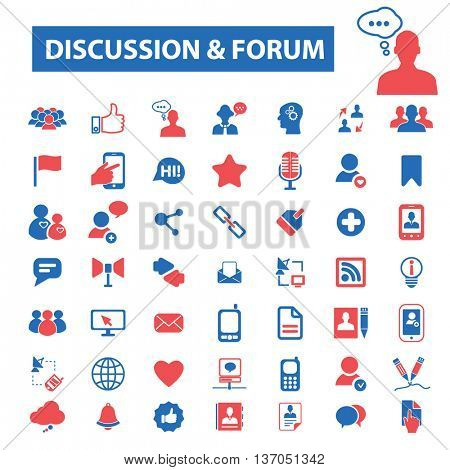 discussion forum, chat, team, media, business, teamwork, people, group, community, meeting, speech, speak,  global relations, dialog, avatar, conversation icons, signs vector