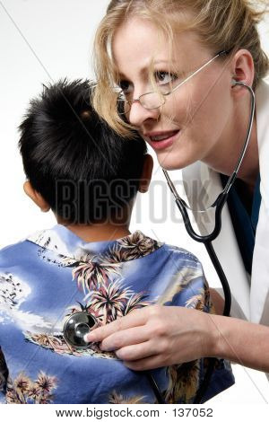 Child Having Routine Physical Examination