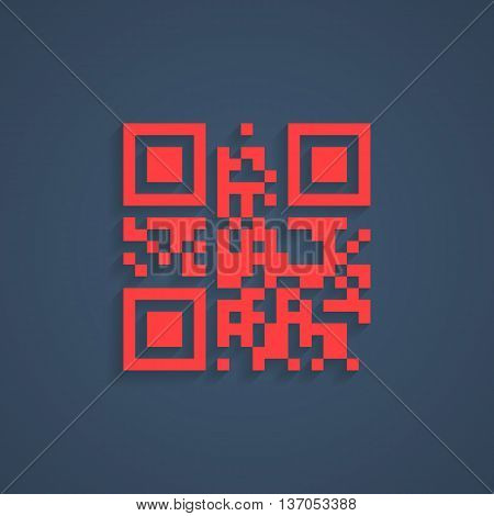 encrypted lorem ipsum text in red qr code. concept of pixelart, labyrinth or maze, scanning, sale, checkout, packaging pictogram, logistics. flat style modern logo design editable vector illustration
