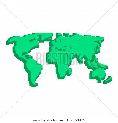 green 3d world map like pix elements. concept of locations, 8bit videogame, topography, geographica, schooling, wallpaper. isolated on white background. pixelart style modern vector illustration