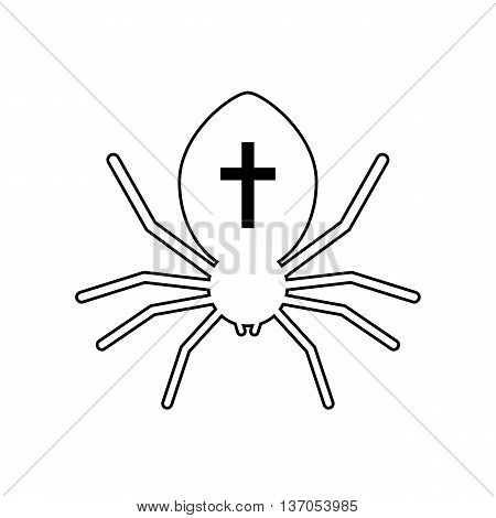 outline black spider with cross. concept of wild hunter, biology, spiderweb, spidery, cobweb, mortal danger. isolated on white background. flat style trendy modern logo design vector illustration