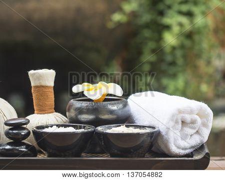 Spa massage compress balls, herbal ball with salt, turmeric and aroma, Thailand, select focus