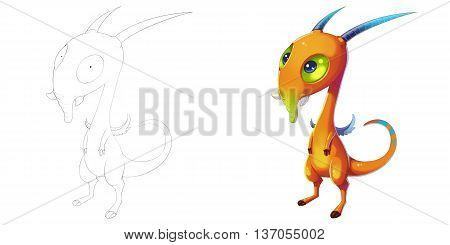 Elephant Nose Goat and Horn Creature. Coloring Book, Outline Sketch, Monster Mascot Character Design isolated on White Background