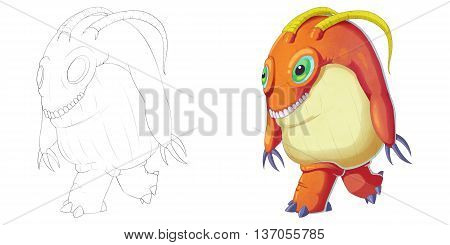 Big Green Eye and Teeth Creature Monster isolated on White Background. Realistic Fantastic Cartoon Style Character Design, Story, Card, Sticker Design