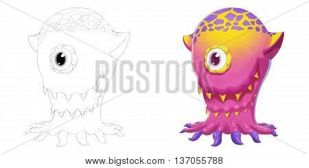 One Eye Octopus Creature. Coloring Book, Outline Sketch, Monster Mascot Character Design isolated on White Background