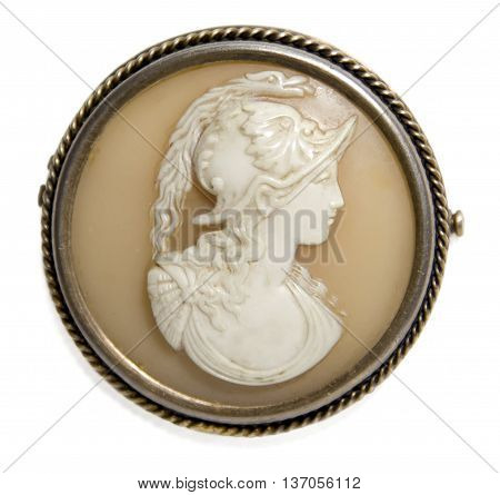 antique victorian brooch - cameo on white background