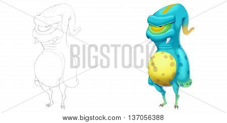 Alien Creature. Coloring Book, Outline Sketch, Monster Mascot Character Design isolated on White Background