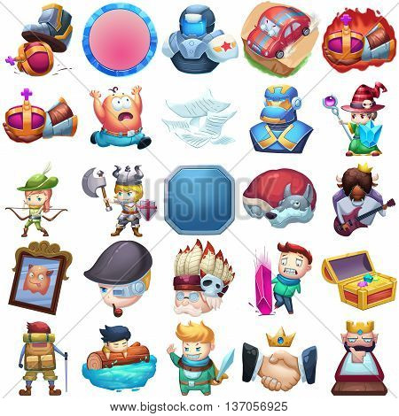 25 Achievements and Character Icons Set. Video Game Assets, Objects; Story Book, Card Illustration Pieces isolated on White Background